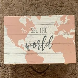See the world  briefcase suitcase pink and white